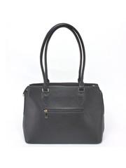 Комбинированная сумка черного цвета с кисточкой
