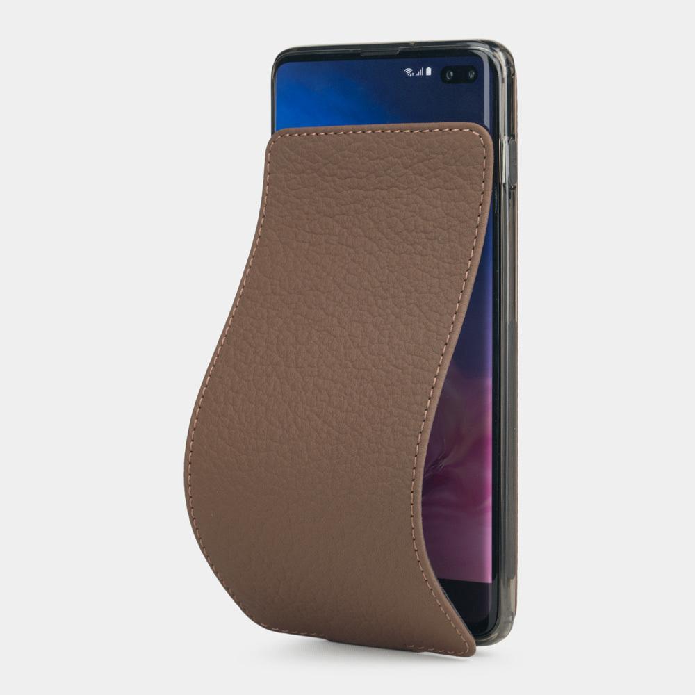 Чехол для Samsung Galaxy S10 Plus из натуральной кожи теленка, цвета кофе