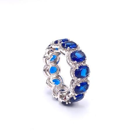 87414- Кольцо-дорожка из серебра с сапфировыми,овальными цирконами