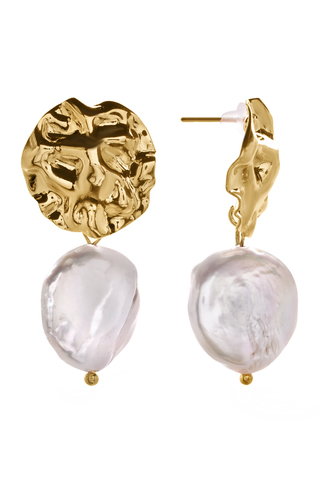 Серьги из мятого металла с жемчугом Aurora Leone Gold