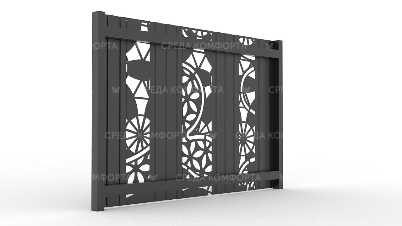 Забор из профлиста 2500х2000 мм ZBR0027 (ворота)