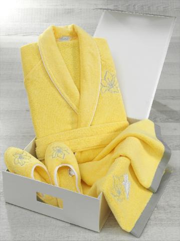 НАБОР 3 предмета LILIUM  ЖЕЛТЫЙ махровый женский халат, полотенце и тапочки Soft Cotton (Турция)