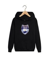 Толстовка черная 007 с капюшоном (худи, кенгуру) и принтом Волк (Wolf)