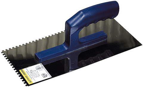 ЗУБР Профи 130х280 мм, 4х4 мм, гладилка штукатурная зубчатая нержавеющая с пластиковой ручкой. Серия Профессионал.
