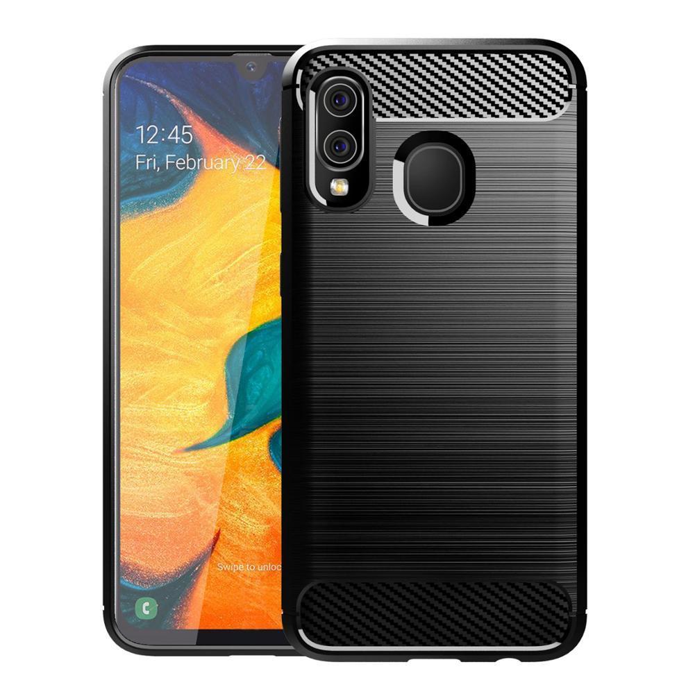 Чехол для Samsung Galaxy A40 цвет Black (черный), серия Carbon от Caseport
