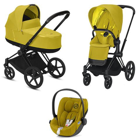 Детская коляска Cybex Priam III 3 в 1 Mustard Yellow Matt Black