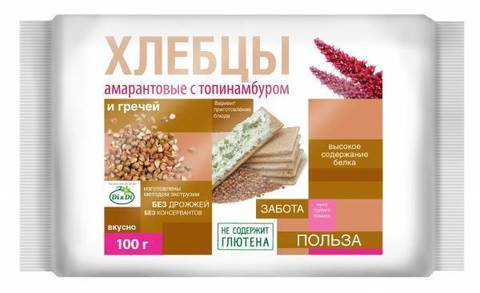 Хлебцы амарант с топинамб. и  гречей б/глютен 100г Ди энд Ди