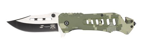 Нож Stinger, 88 мм, рукоять: алюминий (зеленый камуфляж), картонная коробка
