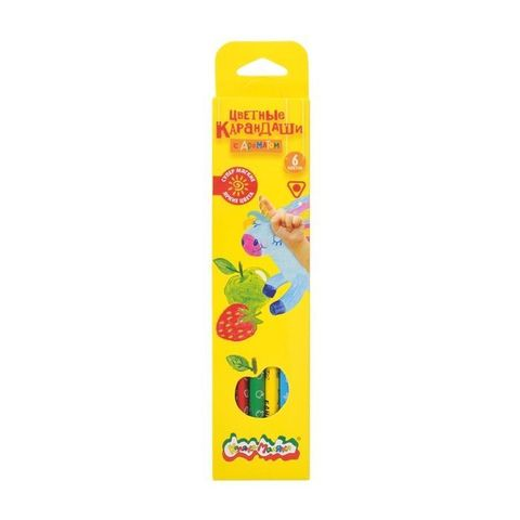 Набор цветных карандашей Каляка-Маляка, 6 цветов, трехгранные, деревянные, ароматизированные, КТКМ06А