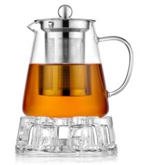 """Стеклянный заварочный чайник с подогревом от свечи """"Бостон"""""""