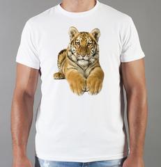 Футболка с принтом Тигр (Tiger) белая 0039