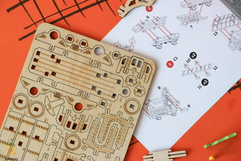 Вагончик пассажирский (UNIWOOD) - Миниатюрный деревянный конструктор, 3D пазл, сборная модель