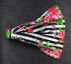 Повязка - косынка - бандана из трикотажа с принтом Цветы на полосатом фоне