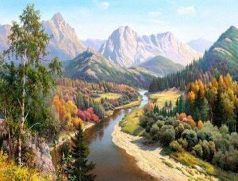 Алмазная Мозаика 40x50 Вид на горы (арт. HWSA5110)