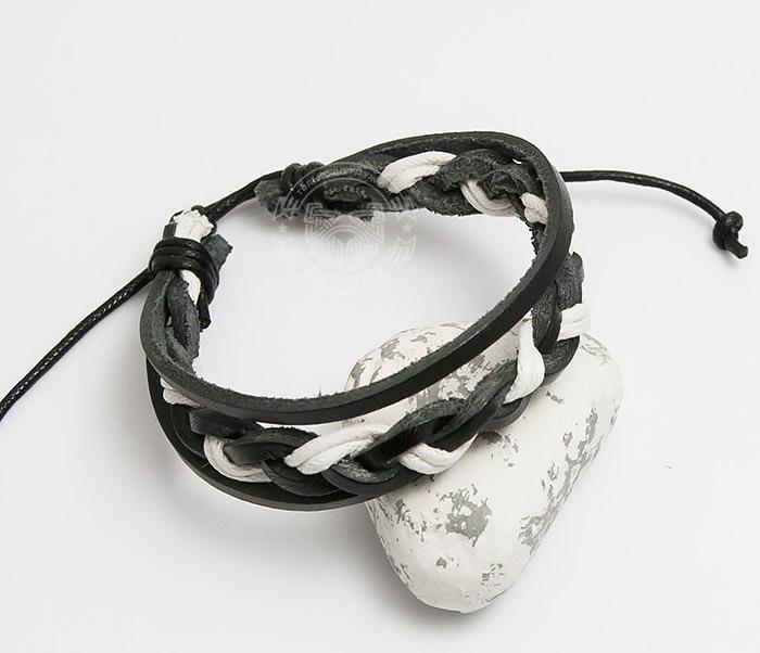 SL0087-KWH Мужской браслет из черной кожи и белого шнура «Spikes»