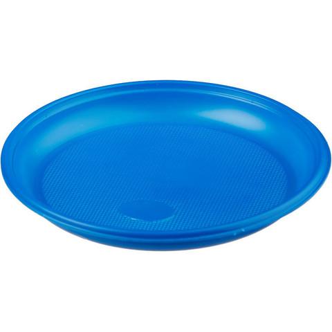 Тарелка одноразовая пластиковая синяя 165 мм 50 штук в упаковке