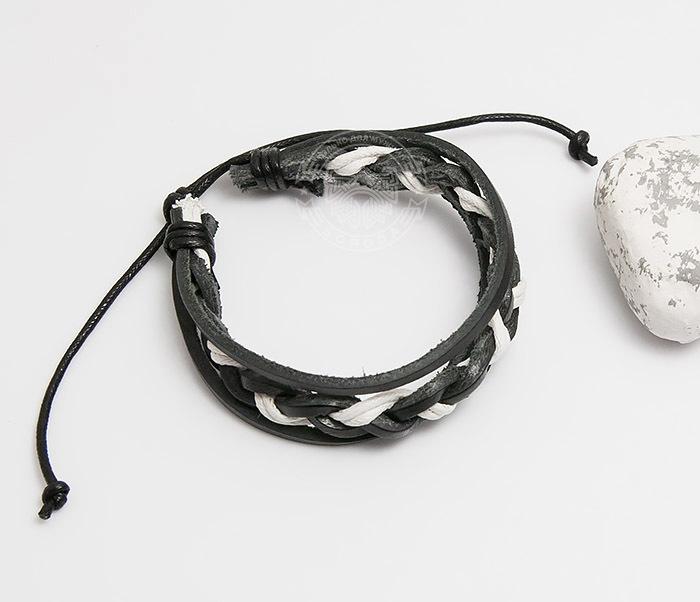 SL0087-KWH Мужской браслет из черной кожи и белого шнура «Spikes» фото 02
