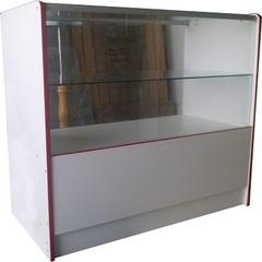Прилавок ПП-1-1 (1000мм) ЛДСП/стекло, кромка красная