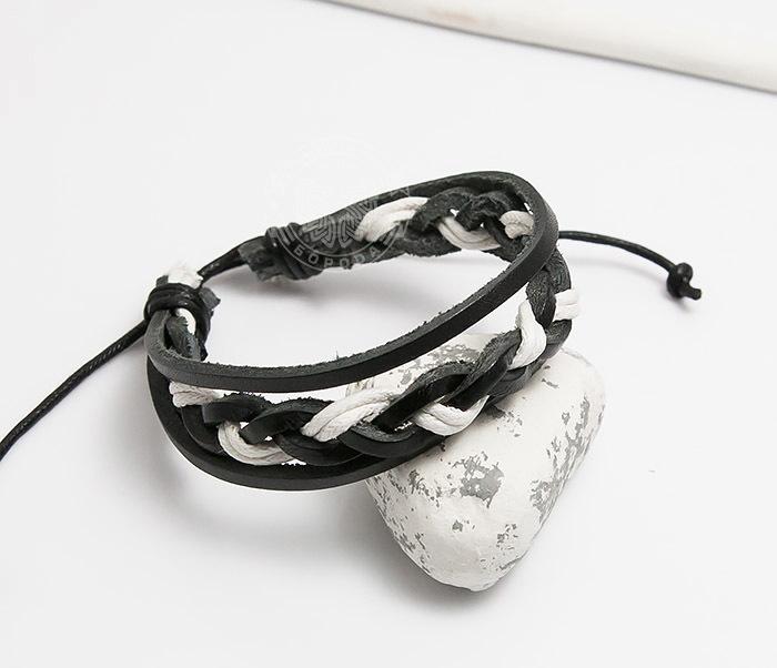 SL0087-KWH Мужской браслет из черной кожи и белого шнура «Spikes» фото 03