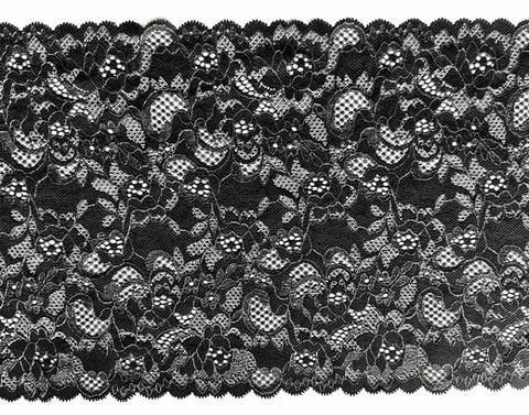 Эластичное кружево, черный с серебряной кордовой нитью, 22см (Артикул: EK-1034), м