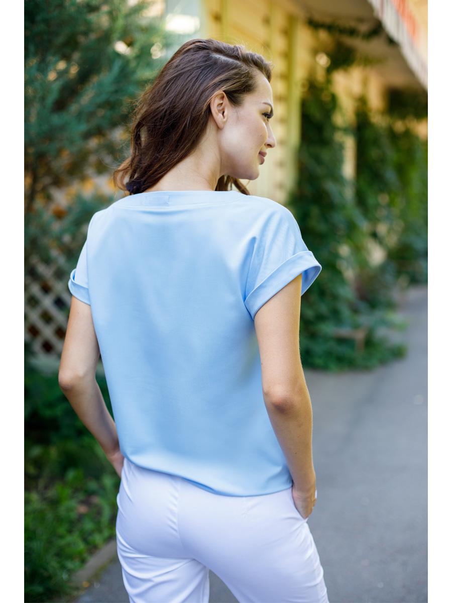 Голубая блуза медицинская Бл-1019 MediS.moda