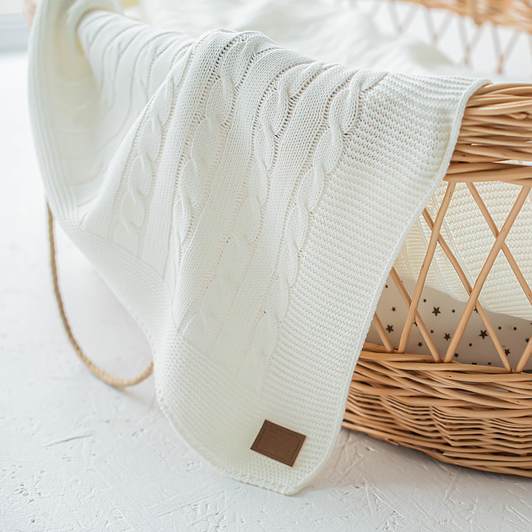 Knitted merino wool blanket - Cream