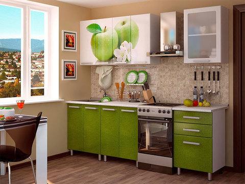 Кухня 1,8м Яблоко БТС серый/фотопечать