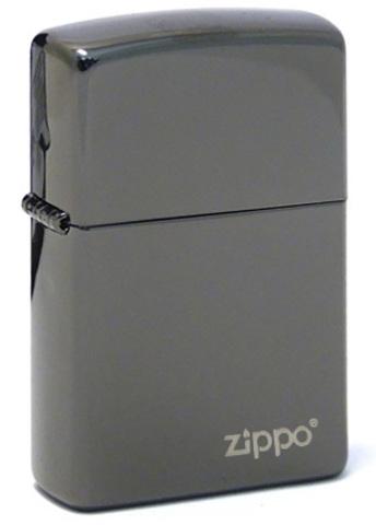 Зажигалка Zippo латунь/сталь, чёрная с фирменным логотипом, глянцевая, 36x12x56 мм123