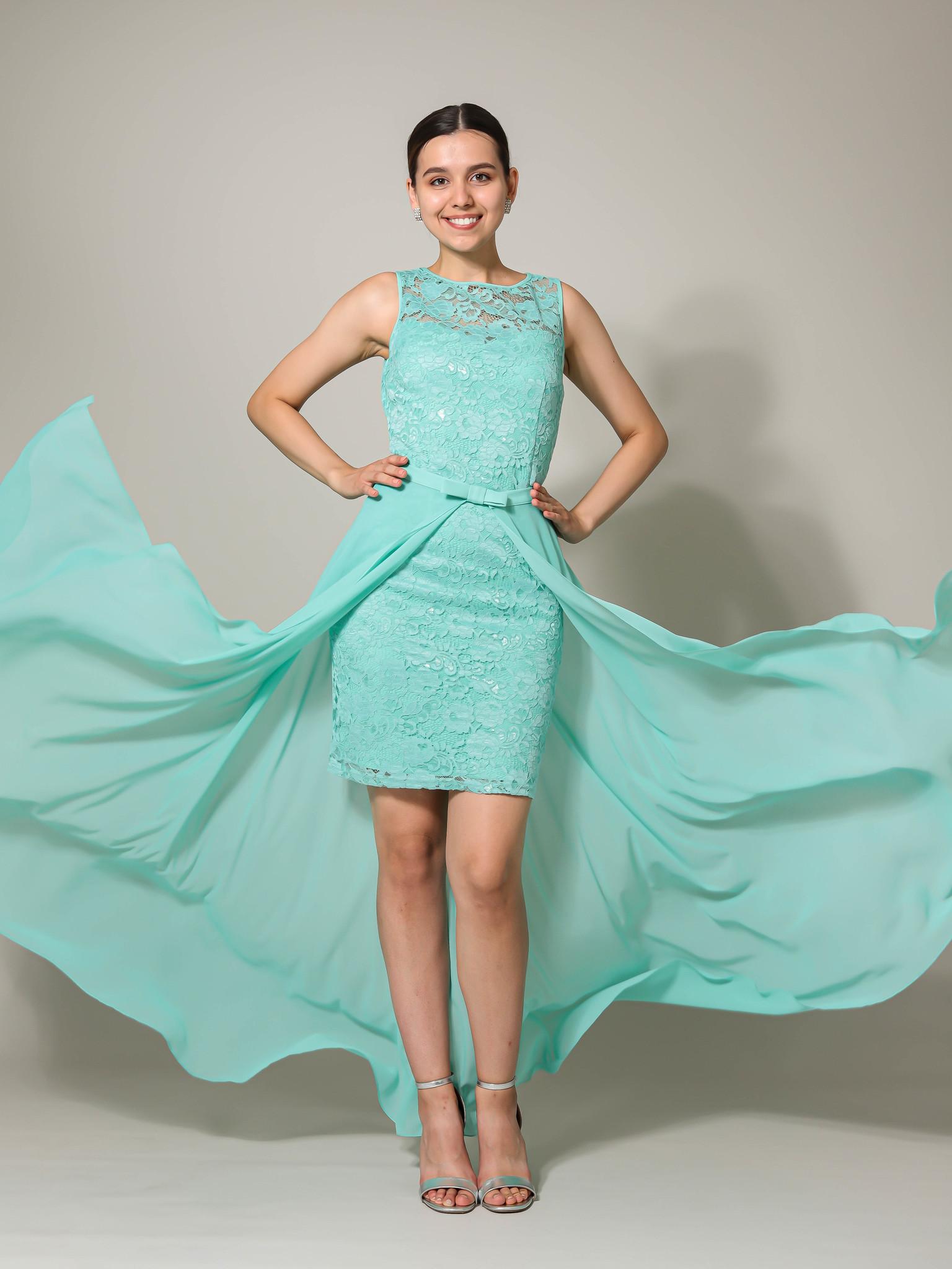 Нарядное платье со съемной юбкой из фатина (ментол)