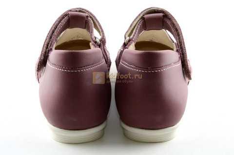 Туфли Тотто из натуральной кожи на липучке для девочек, цвет ирис фиолетовый. Изображение 7 из 12.
