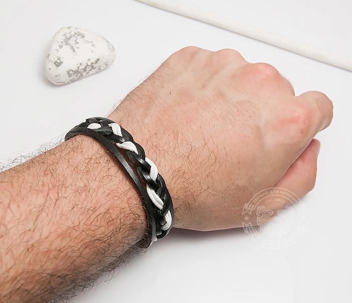 SL0087-KWH Мужской браслет из черной кожи и белого шнура «Spikes» фото 04