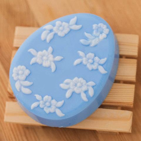 Мыло Яйцо плоское с мелкими цветами. Пластиковая форма