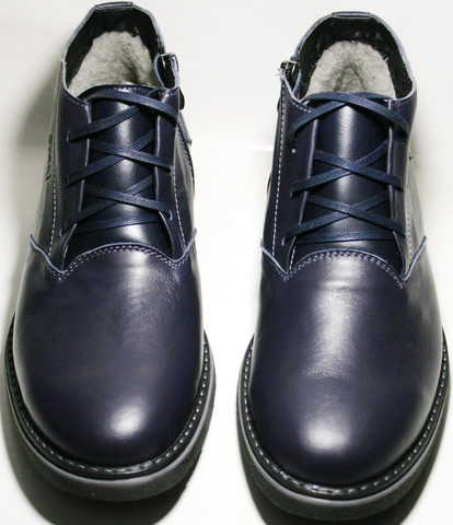 Мужские зимние ботинки на меху классические, пепельно синие Broni размер 40 и 45