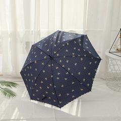Женский зонт-трость, ручка-крюк, 8 спиц Yoco (Япония) синий принт- бантики
