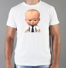 Футболка с принтом мультфильма Босс-молокосос (The Boss Baby) белая 0011