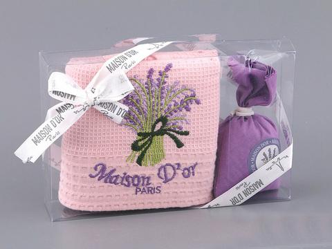 Кухонное полотенце с подарочной коробке Лаванда, розовое