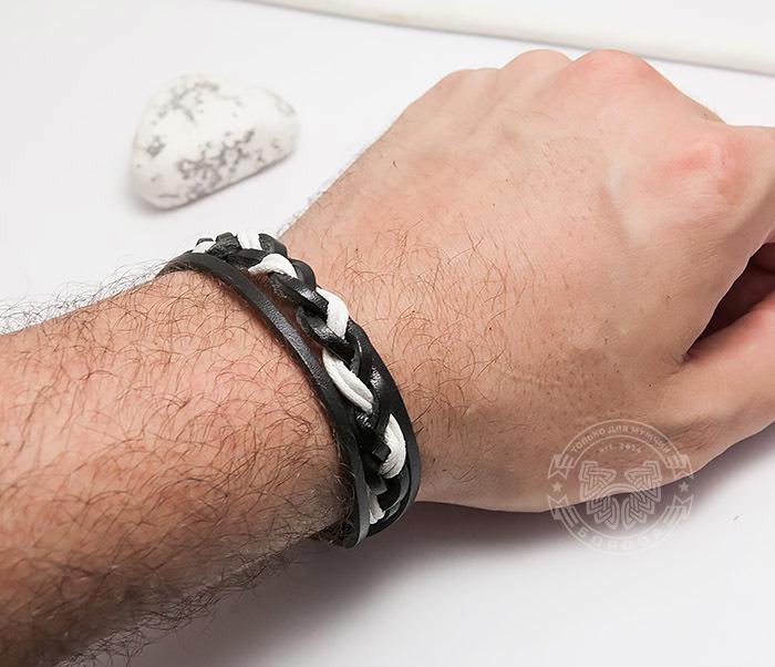 SL0087-KWH Мужской браслет из черной кожи и белого шнура «Spikes» фото 05