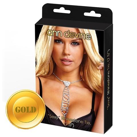Галстук из кристаллов SEXY RHINESTONE TIE (GOLD)