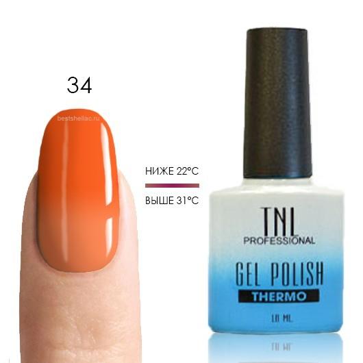 Термо TNL, Термо гель-лак № 34 - неоново-оранжевый/светло-оранжевый, 10 мл 34.jpg