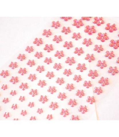 Стразы самоклеющиеся цветочки разного размера 78 шт розовые