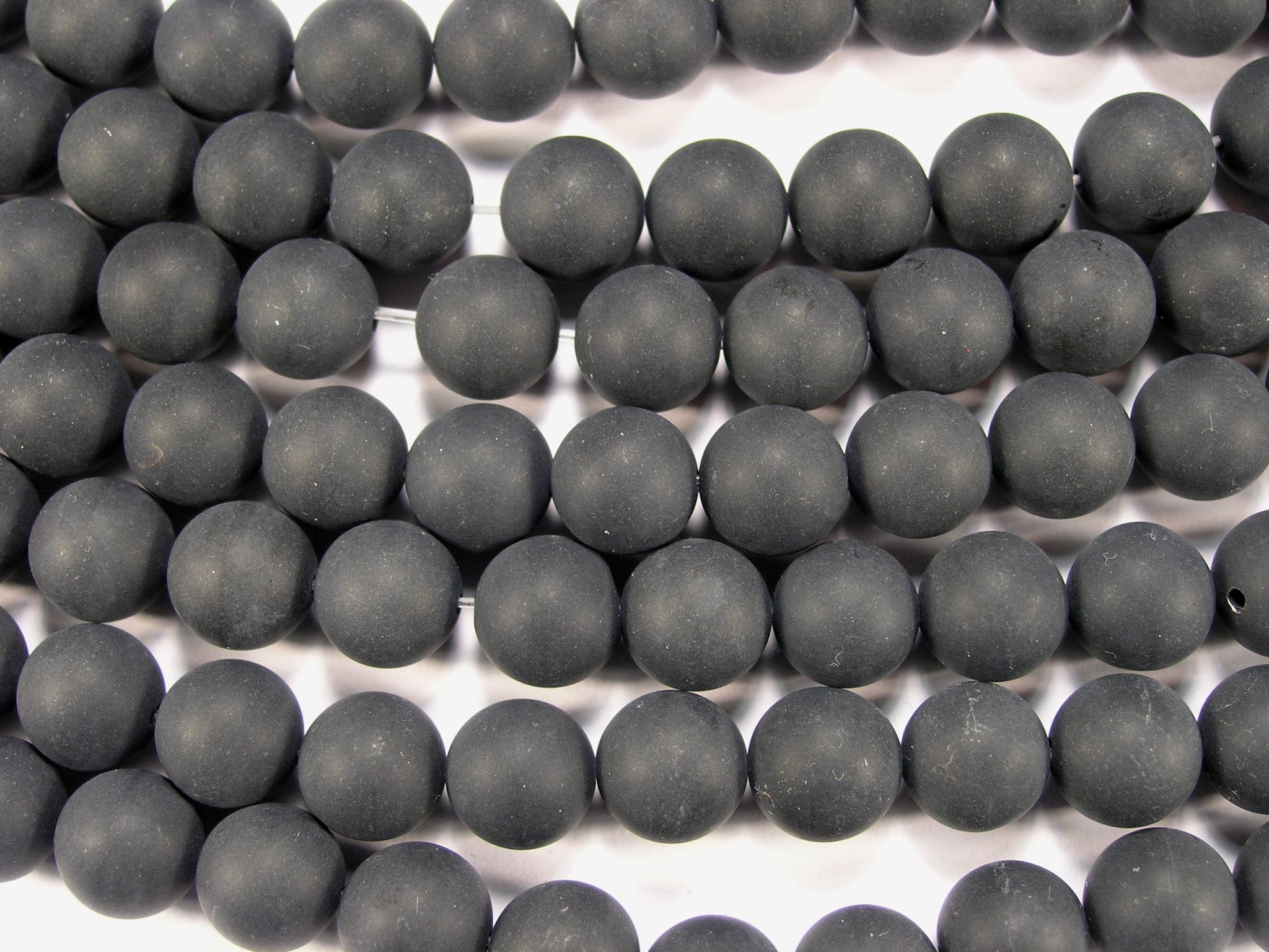 Нить бусин из оникса черного матового, шар гладкий 10мм