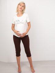 Euromama/Евромама. Пижама для беременных и кормящих футболка и капри, шоколад вид 1