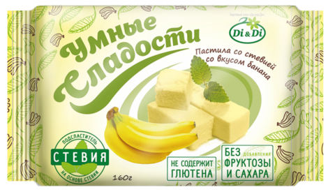Пастила Умные сладости со вкусом Банана со стевией 160г