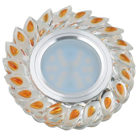 DLS-L128 GU5.3 CHROME/GOLD Светильник декоративный встраиваемый, серия Luciole. Без лампы, цоколь GU5.3. Доп. светодиодная подсветка 3Вт. Металл/стекло. Хром/матовый+золото. ТМ Fametto
