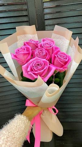 7 голландских розовых роз 50 см в ооформлении  #33332