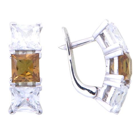 Серьги из серебра с султанитоми цирконом Арт.2152с