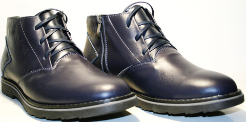 Модные ботинки мужские зимние кожаные классические. Теплые ботинки  с мехом Broni Blue Leather.