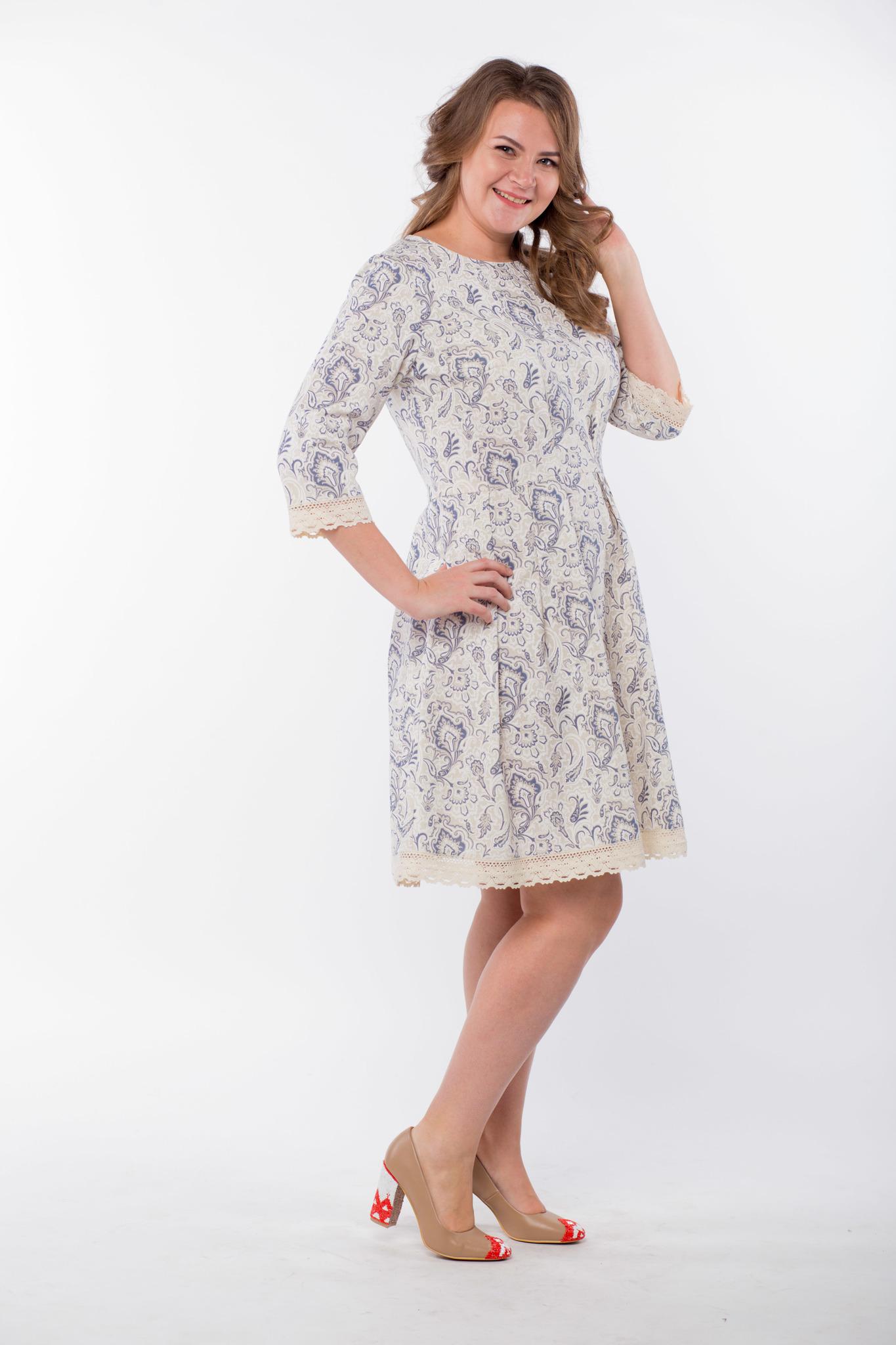 Платье льняное Первоцвет 50 размер вид сбоку