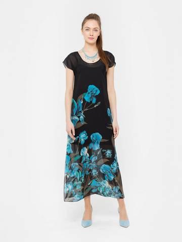 Фото черное платье макси с разрезами по бокам из полиэстера - Платье З035-168 (1)