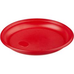 Тарелка одноразовая пластиковая красная 165 мм 50 штук в упаковке